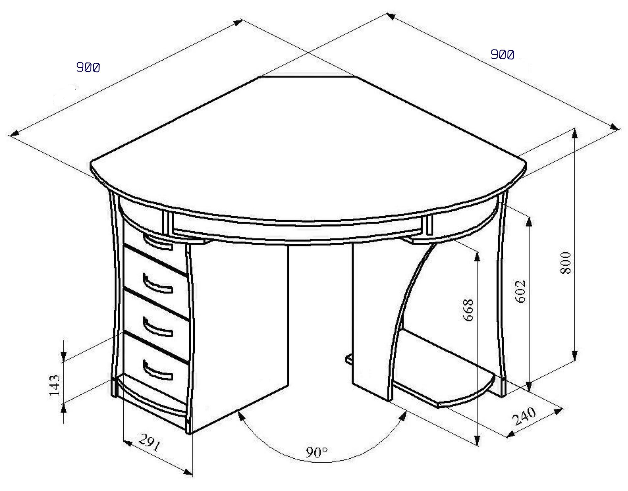 Чертежи компьютерных столов с размерами своими руками