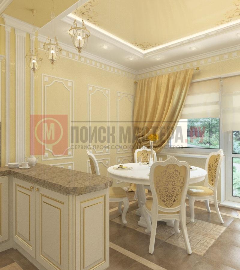 Интерьер кухни студии в классическом стиле фото