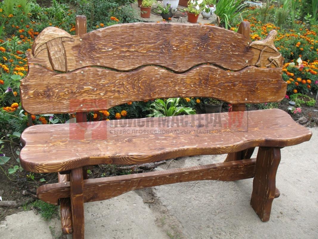 Резная скамейка из дерева своими руками 34